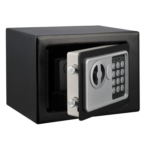 Digital Security Safe Box for Valuables- Compact Waterproof and Fireproof Steel Lock by Stalwart- Black