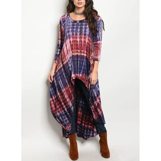 JED Women's Tie Dye Stretchy Knit Maxi Tunic Top