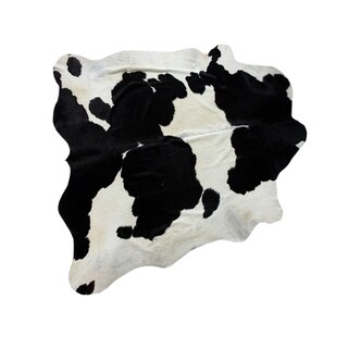 "Pasargad Black/Ivory High Quality Cowhide Area Rug (7' 1"" X 7' 3"")"
