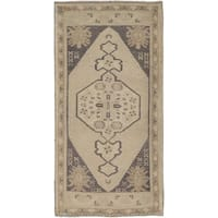 """Pasargad Beige Vintage Oushak Collection Hand-Knotted Wool Rug (1'10"""" X 3' 8"""")"""