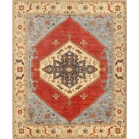 "Pasargad Serapi Collection Rust/Ivory Hand-Knotted Wool Rug (12' 2"" X 15' 2"")"