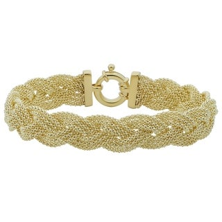 Fremada 14k Yellow Gold Braided Trople Popcorn Chain Bracelet (7.5 inches)