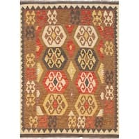 """Pasargad Kilim Collection Multi Hand-Woven Wool Area Rug (3' 7"""" X 4' 9"""")"""