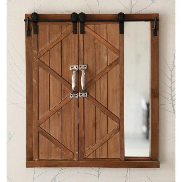Barn Home Decor: Shop Decorative Mirror With Sliding Barn Style Wood Rustic