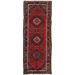 """Pasargad Vintage Lori Red/Navy Hand-Knotted Wool Rug (3' 1"""" X 8' 1"""")"""