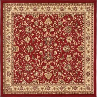 Kashan Black and Cream Floral Square Rug (8' x 8')