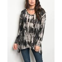 JED Women's Long Sleeve Tie Dye Stretchy Knit Tunic Top