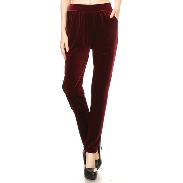 JED Women's Elastic Waist Solid Velvet Tapered Pants with Side Pockets