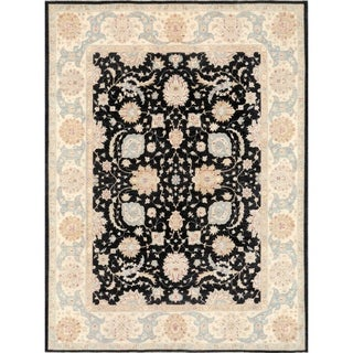 """Ferehan Collection Black/Biege Hand-Knotted Wool Rug (9' 9"""" X 12'10"""")"""