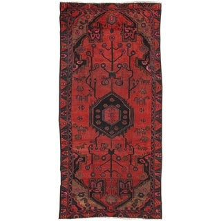 """Vintage Red/Blue Hamadan Collection Hand-Knotted Wool Rug (4' 3"""" X 8'10"""")"""