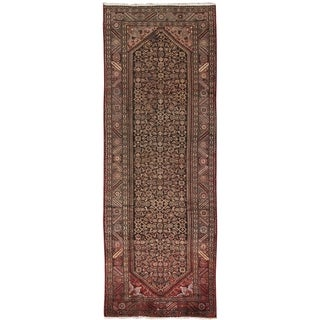 """Pasargad Vintage Hamadan Brown Collection Hand-Knotted Wool Rug (3' 7"""" X 10' 8"""")"""