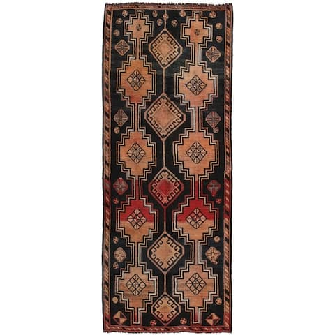 """Vintage Shiraz Black/Red Collection Hand-Knotted Wool Rug (3' 4"""" X 8'10"""") - 3' x 9' Runner"""