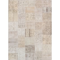 "Vintage Patchwork Biege Collection Hand-Knotted Wool Rug (5' 7"" X 7'10"")"