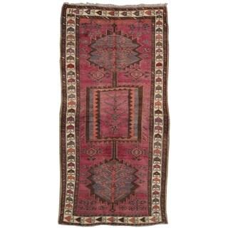 "Pasargad Vintage Lori Raspberrie/Ivory Hand-Knotted Wool Rug (3' 5"" X 7' 0"")"