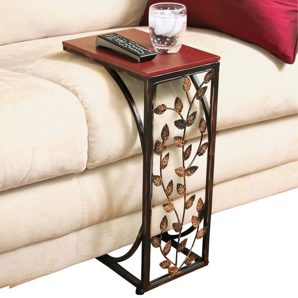 Burnished Metal Sofa Side Table End Snack W Leaf Design
