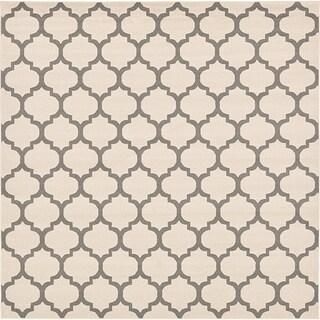 Trellis Beige/Cream Square Rug (10' x 10')
