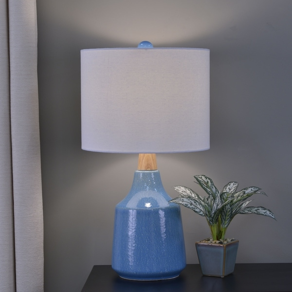 Casey Speckled Ceramic and Wood Table Lamp
