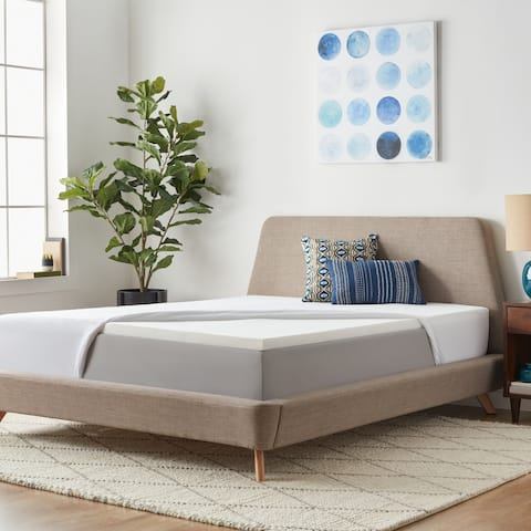 2-inch Solid Foam Mattress Topper with Premium Mattress Protector by LUCID