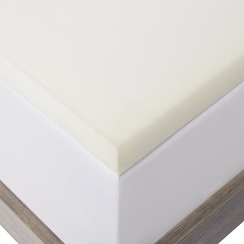2-inch Solid Foam Mattress Topper with Premium Mattress Protector by LUCID - White