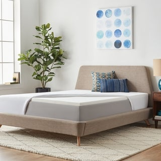 LUCID 2-inch Solid Foam Mattress Topper with Premium Mattress Protector