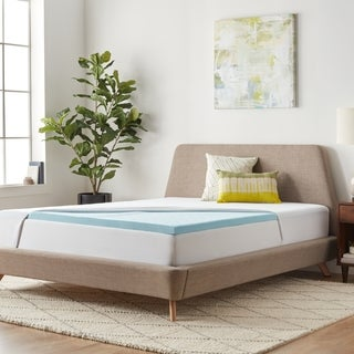 LUCID 2-inch Gel Memory Foam Mattress Topper with Jersey Fitted Protector