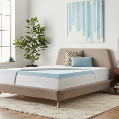 3-inch Gel Memory Foam Mattress Topper with Premium Waterproof Mattress Protector by Lucid Comfort Collection - Blue/White