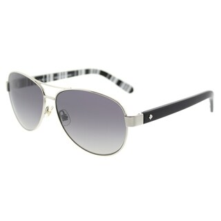 Kate Spade Aviator KS Dalia2/P 79D Womens Silver Black Frame Grey Polarized Lens Sunglasses