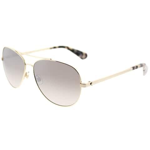 Kate Spade Aviator KS Avaline2 06J Womens Gold Havana Frame Brown Mirror Gradient Lens Sunglasses