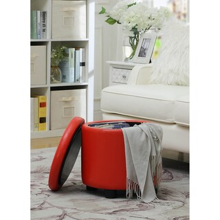 Convenience Concepts Designs4Comfort Round Accent Storage Ottoman (Option: Red)