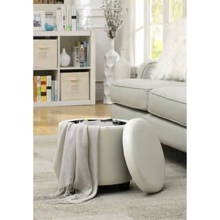 Convenience Concepts Designs4Comfort Round Accent Storage Ottoman (Option: White)