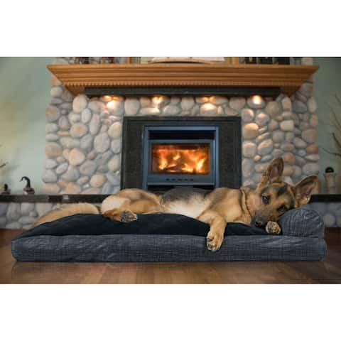 FurHaven Pet Bed Quilted Fleece & Print Suede Chaise Lounge Pillow Sofa-Style Dog Bed