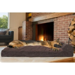 FurHaven Faux Fleece & Corduroy Chaise Lounge Pillow Sofa-Style Dog Bed Pet Bed