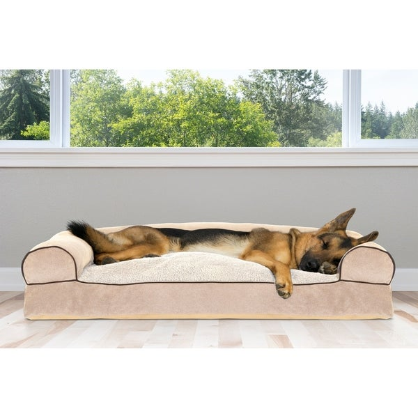 FurHaven Faux Fleece & Chenille Soft Woven Pillow Sofa Dog Bed Pet Bed - Jumbo
