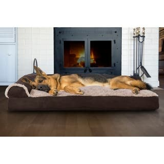 FurHaven Pet Bed Two-Tone Faux Fur & Suede Deluxe Chaise Lounge Pillow Sofa-Style Dog Bed