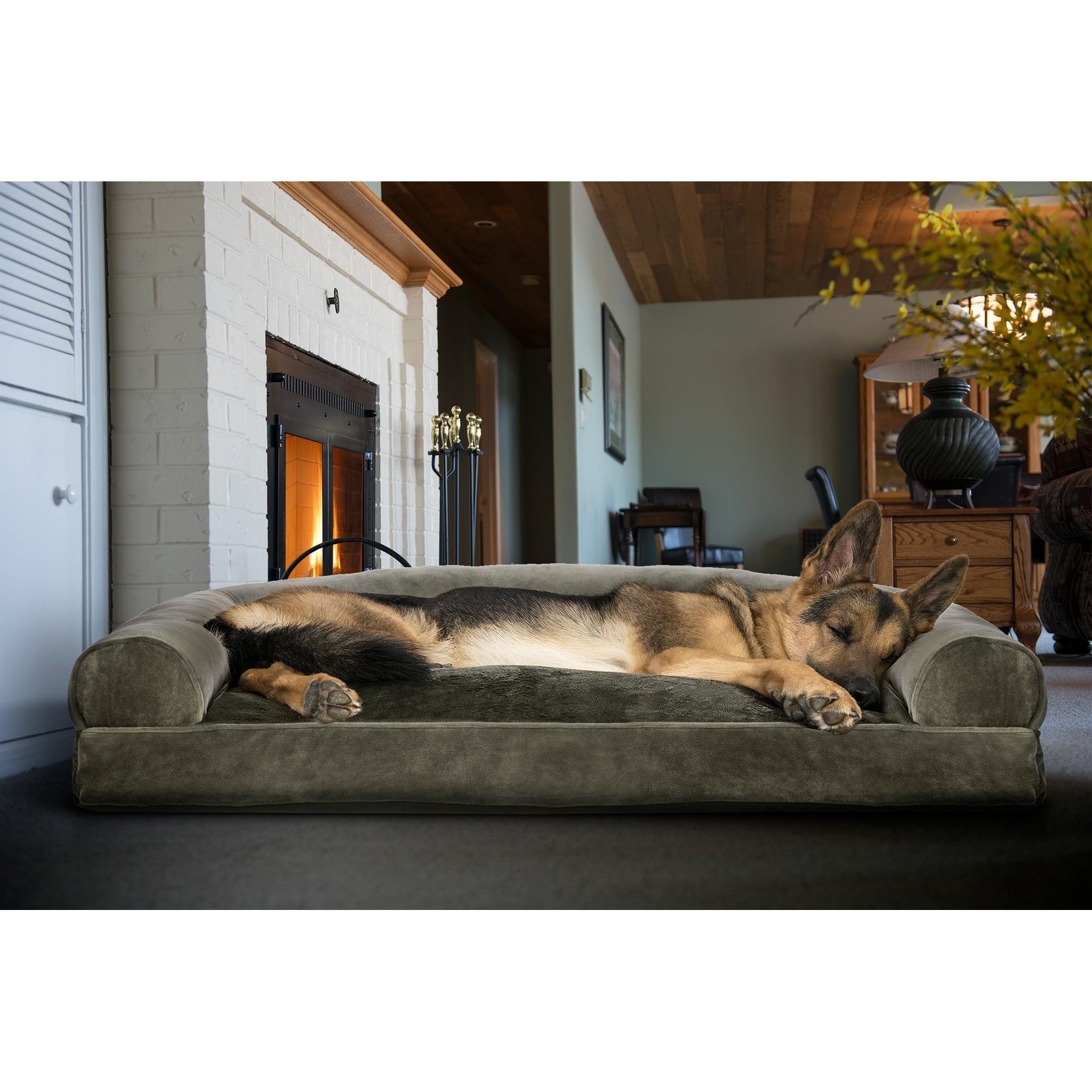 FurHaven Faux Fur U0026 Velvet Pillow Sofa Dog Bed Pet Bed