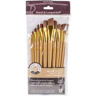 Taklon Flat Brush Variety Pack 12/Pkg