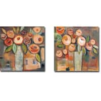 Golden Floral I and II by Linda Davey 2-piece Gallery-Wrapped Canvas Giclee Art Set