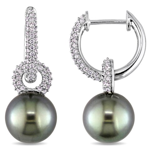 Miadora Signature Collection 14k White Gold Black Tahitian Pearl and 1/2ct TDW Diamond Hoop Dangle Earrings (9-9.5 mm)