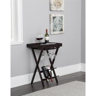 COSCO Espresso Wood Folding Wine Rack with Removable Tray