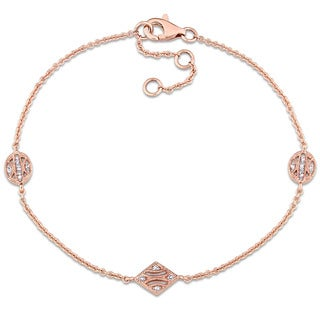 Miadora 14k Rose Gold Diamond Accent Adjustable Station Link Bracelet