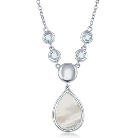 La Preciosa Sterling Silver Blue Topaz Bezel-Set with Mother of Pearl Teardrop 16+2'' Necklace