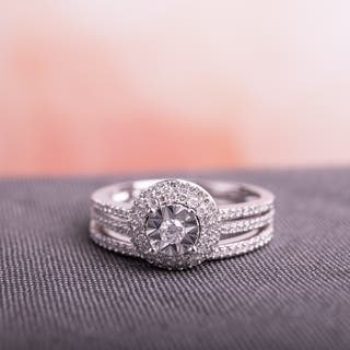 Miadora Signature Collection 10k White Gold 3/8ct TDW Diamond Double Halo 2-Piece Bridal Ring Set|https://ak1.ostkcdn.com/images/products/18219121/P24360862.jpg?impolicy=medium
