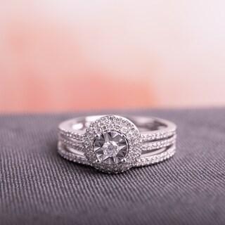 Miadora Signature Collection 10k White Gold 3/8ct TDW Diamond Double Halo 2-Piece Bridal Ring Set