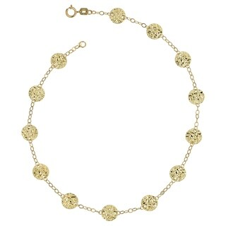 Fremada 14k Yellow Gold Hammered Disc Station Anklet (10 inch)