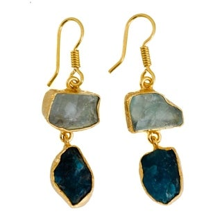 Handmade Gold-overlay Apatite & Green Fluorite Earrings (India)