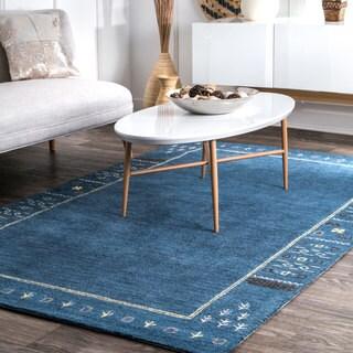 nuLoom Blue Solid Wool Handmade Tribal Border Area Rug (5' x 8')