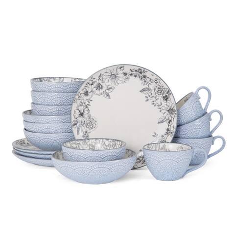 Pfaltzgraff Gabriela Gray Stoneware 16 Piece Dinnerware Set