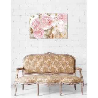 Oliver Gal 'Basket O' Roses' Floral and Botanical Wall Art Canvas Print - Pink, Green