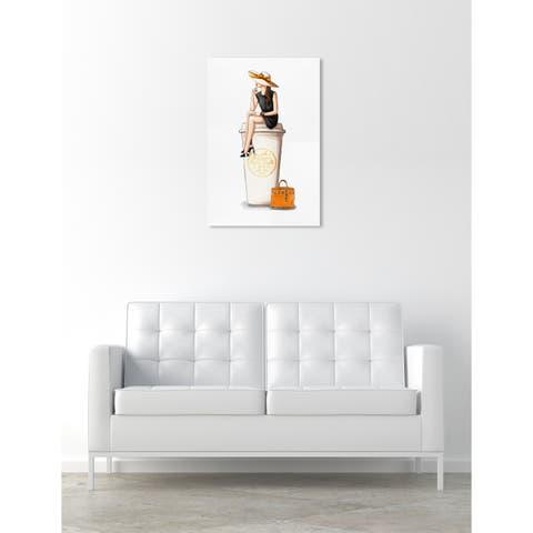 Oliver Gal 'Cafe au Lait Orange' Drinks and Spirits Wall Art Canvas Print - Orange, White