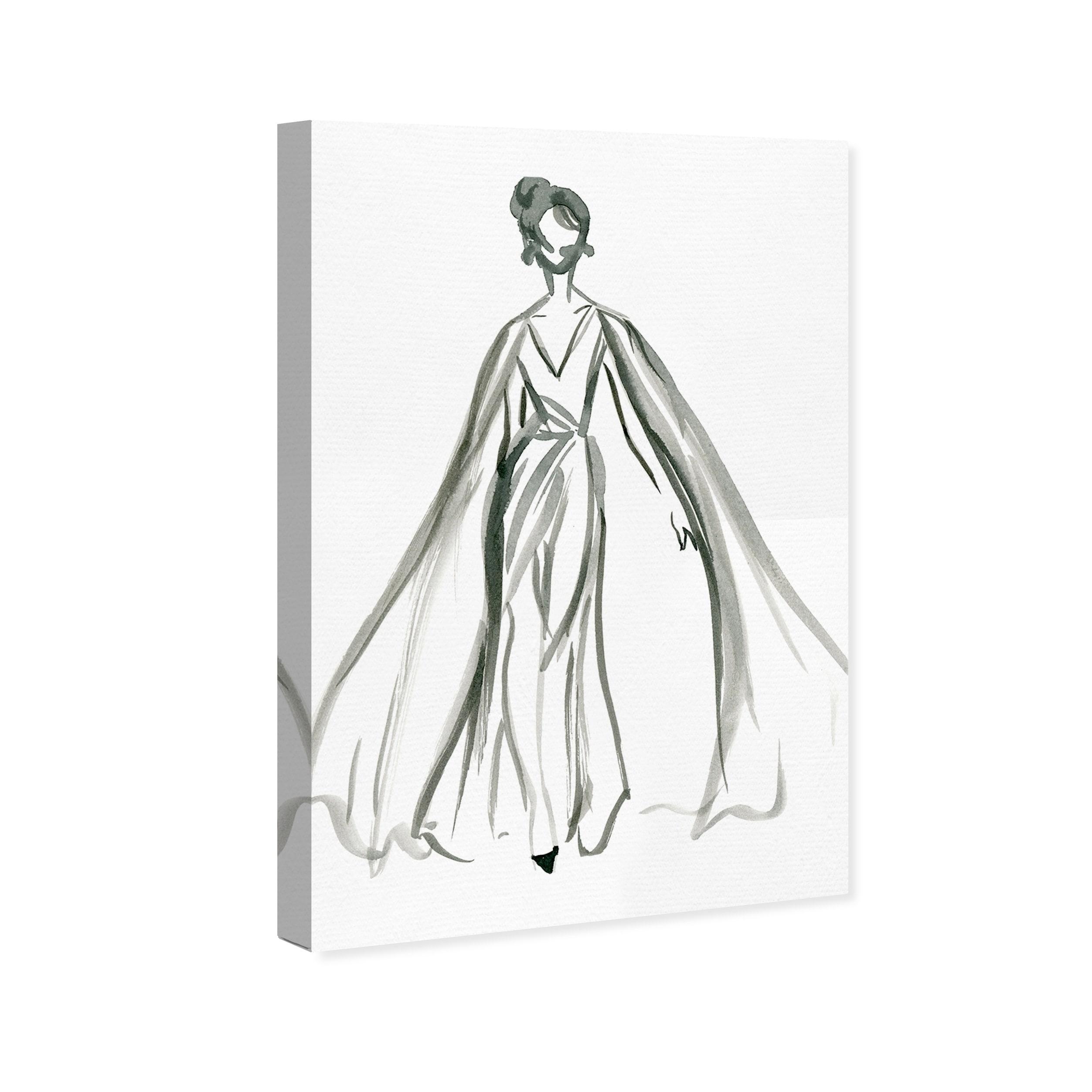 Shop Oliver Gal Elegant Dress Ink V Fashion And Glam Wall Art Canvas Print Black White Overstock 18219396